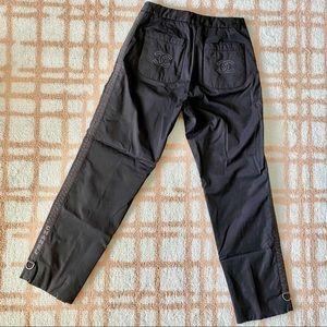 CHANEL IDENTIFICATION BLACK LOGO LONG PANTS XS